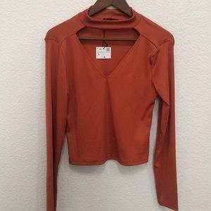 Zara Woman copper choker neck long crop